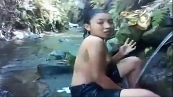 in river bath girl Charming playgirl gets her beaver thrashed